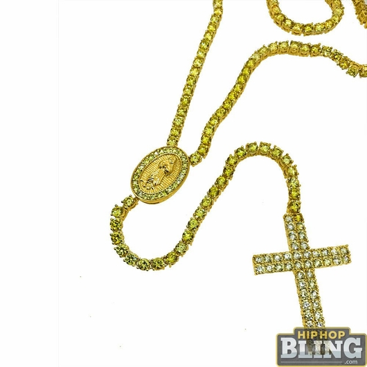 CZ Rosary Canary on Gold Hip Hop Necklace