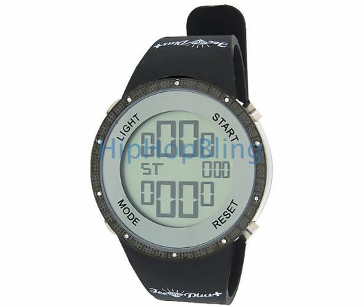 DAILY DEAL All Black Digital Diamond Watch Ice Plus