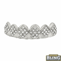 Diamond Bling Bling Silver Grillz Top Teeth