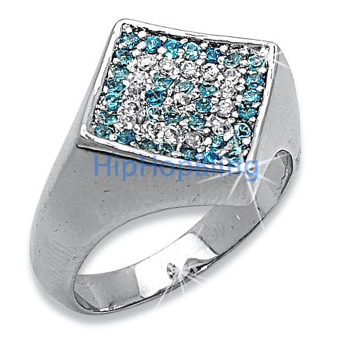 Diamond Classic Micro Pave .925 Sterling Silver BLUE CZ Mens Ring #31d