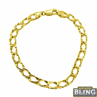 Diamond Cut 10K Yellow Gold Cuban Bracelet 7MM