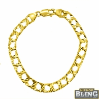 Diamond Cut 10K Yellow Gold Cuban Bracelet 8MM