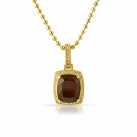 Diamond Garnet Gem Pendant Gold .925 Silver All Real