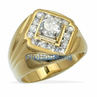 Diamond King CZ Gold Plated Mens Hip Hop Ring
