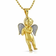 Diamond Mini Cherub Angel Pendant