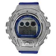 Digital Genuine .10ct Diamond Watch Blue Band