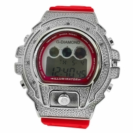 Digital Red Band .10ct Diamond Hip Hop Watch