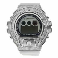 Digital White Band .10 Diamond Watch