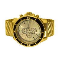 Diver Style Gold Mesh Band Hip Hop Watch