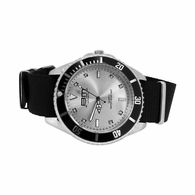 Divers Sport Watch Silver with Black Nylon Strap