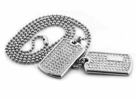 Double Bling Bling Dog Tag Set Rhodium