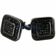 Double Box Black Mens Bling Bling Cufflinks