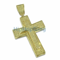 Double Decker Lemonade Bling Bling Cross Micro Pave CZ Pendant