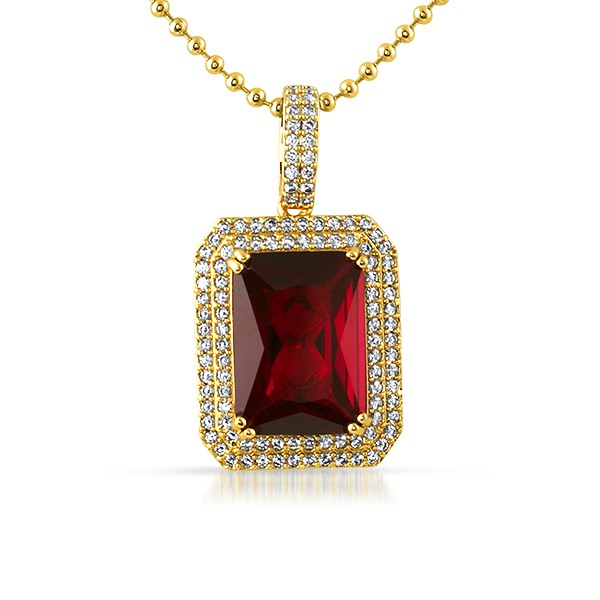 Double iced out lab ruby gem pendant gem pendants mbp594reg double iced out lab ruby gem pendant mozeypictures Image collections