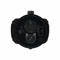 Dual Time Zone All Black Rubber Watch