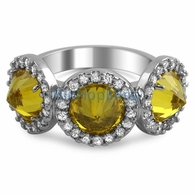Fashion Reverse CZ Canary Diamond Pave Ladies Ring