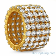 Fat 5 Row 360 Eternity Gold Bling Bling Ring