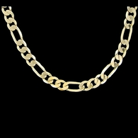 Figaro 6mm 24 Inch Gold Plated Hip Hop Chain Necklace