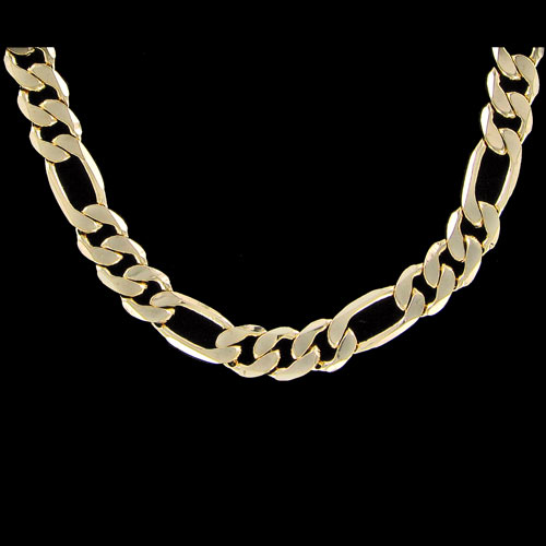 Figaro 9mm 24 Inch Gold Plated Hip Hop Chain Necklace