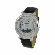 Floating Ice Round Bling Bling Watch Black Leather Band