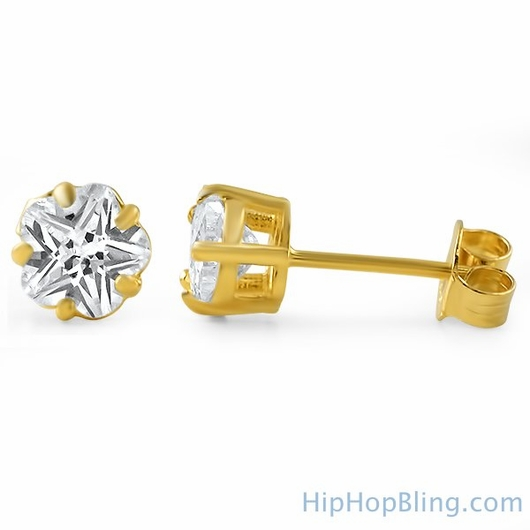 Flower Cut CZ Stud Earrings Gold .925 Silver