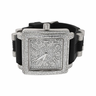 Frankie Silver Bling Bling Black Rubber Watch