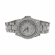 Full Bling Bling Silver Sports Watch