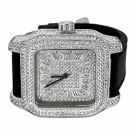Full Bling Bling Square Block Silver Hip Hop Watch