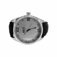Genuine Diamond Dress Watch Silver Black Band