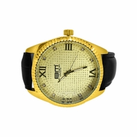 Genuine Diamond Gold Dress Watch Gold Black Strap
