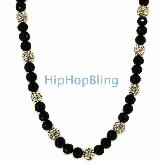 Gold 15 Iced Out Disco Balls Bling Necklace