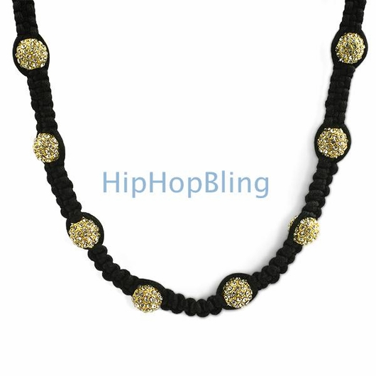 Gold 23 Disco Ball Bling Bling Necklace