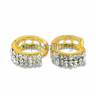 Gold 3 Row Bling Bling Huggie Earrings