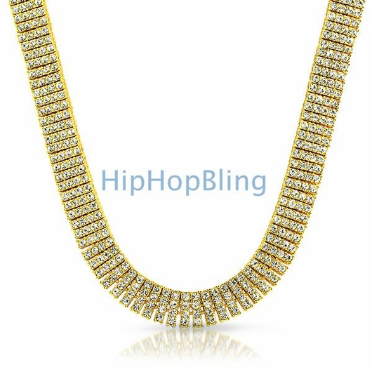 Gold 4 Row Bling Iced Out Chain 30 Inches * Premium*