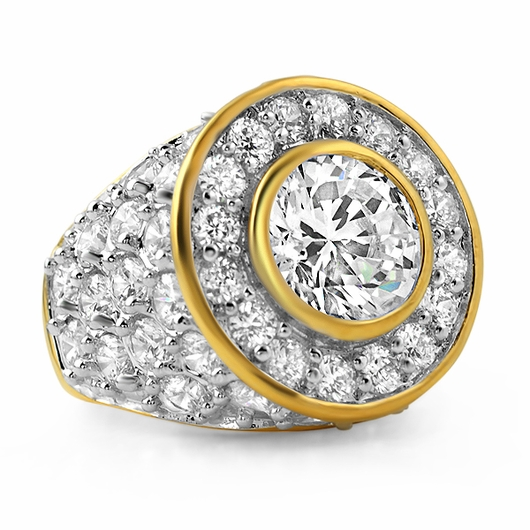 Gold .925 Silver Centerstone CZ Iced Out Ring