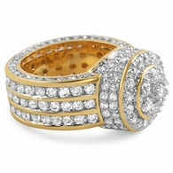 Gold .925 Silver Custom Cluster CZ Bling Ring