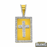Gold .925 Silver Rectangle Cross .51cttw Diamond Pendant