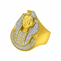 Gold .925 Sterling Silver CZ Pharaoh Ring