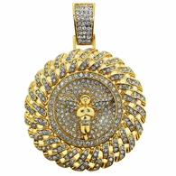 Gold Angel Cuban Iced Out Medallion