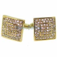 Gold Big Box Bling Bling Mens Cuff Links