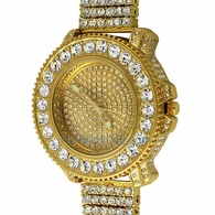 Gold Big Rocks Bling Bling Watch & 6 Row Band