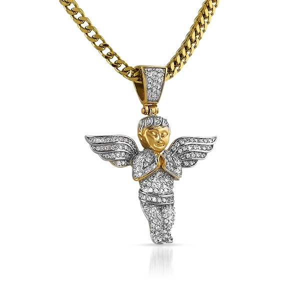 Gold cherub angel pendant bling bling cz micro pave set steel gold cherub angel pendant bling bling cz micro pave set steel aloadofball Image collections