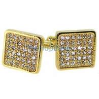 Gold Clean Box Mens Bling Bling Cufflinks