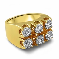 Gold Cluster Settings Hip Hop Ring