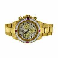 Gold Daytona Red & White CZ Princess Bezel
