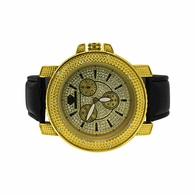 Gold Diamond Super Techno Shiny Leather Watch