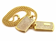 Gold Double Bling Bling Dog Tag Set
