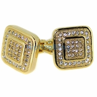 Gold Double Box Mens Bling Bling Cuff Links