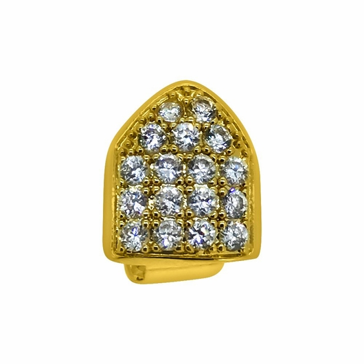 Gold Full Bling CZ Single Tooth Grillz Top