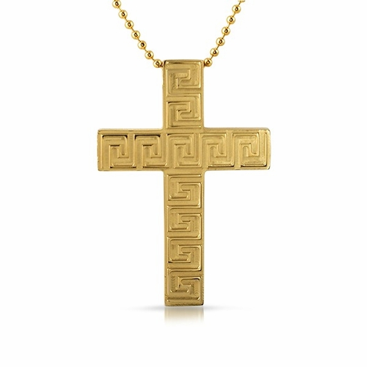 Gold Greek Link Cross Stainless Steel